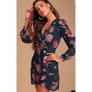 Lulu's navy floral print wrap dress